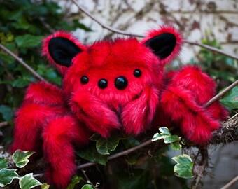 Red Spiderkitty - Handcrafted Spider Plush,Fiber Art