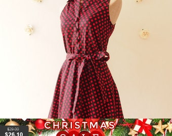 Christmas SALE SALE Polkadot Dress Shirt Dress Black Red Dot Party Dress Red Summer Dress Bridesmaid Dress Shirt Vintage Inspired Sundres...