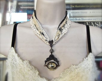 Rusty Iron Spinner, Triple Cameo Spinner, B'Sue by 1928, Black Pearl Pendant, Black and White, Lace & Sari Silk, Vintage Lace, Pearl Cabs