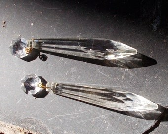 TWO Chandelier Clear CRYSTAL Double Dangles for REPURPOSE