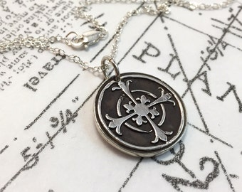 Silver Cross, Sterling Silver, Wax Seal, Round