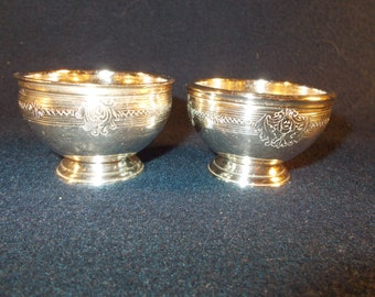 Pair of Sterling Lionel Alfred Crichton Brothers and Company Sterling Salt Cellars