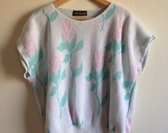 Pastel Rose Vintage Short Sleeve Sweater