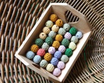 Wooden beads set. 35 colorful wooden crochet balls