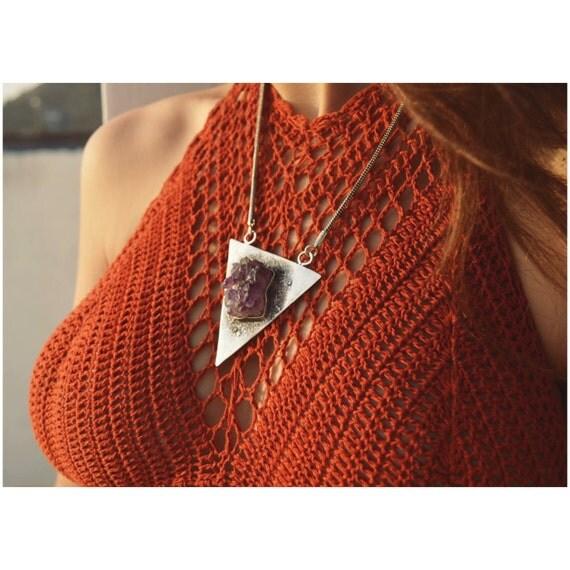 RAW AMETHYST NECKLACE- Sterling Silver- Amethyst Druzy- Bespoke Crystal Necklace- Healing Crystal- Silver Jewellery- Birth Stone- Vintage