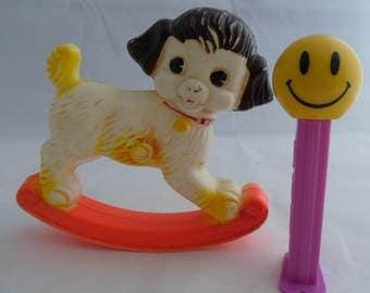 Celluloid Baby Rattle Vintage Rocking Dog Highchair Toy Stahlwood figural animal Upcycle Craft Art Nursury Decor Baby Shower Novelty item