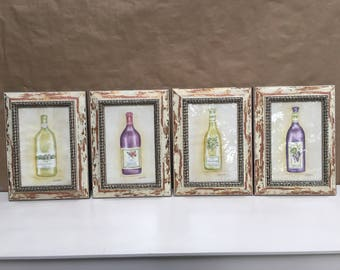 Set of 4 Vintage framed Wine Bottle Prints