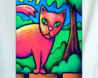 Stray Cat Small Canvas Wall Art 6x8x1.5 in.