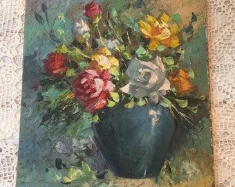 Roses Oil On Canvas Palette Knife Shabby Chic
