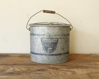 Rustic Vintage Beach Lake House Decor Display Galvanized Minnow Bucket Falls City Nautical Fishing Sportsman