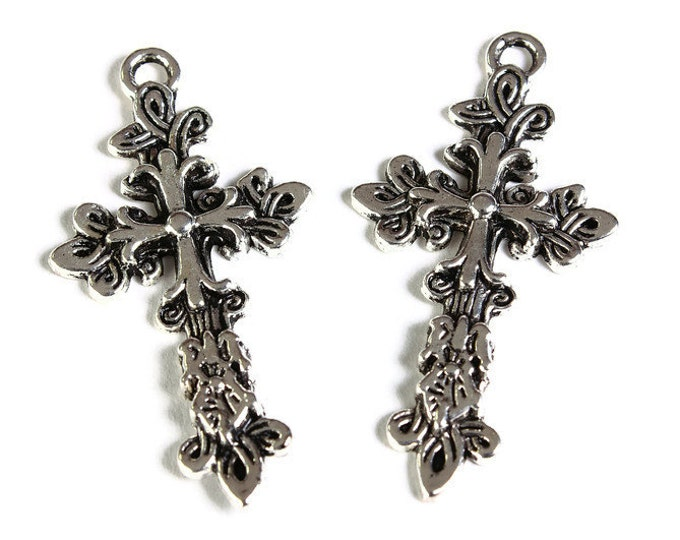 Antique silver cross charm - Flower Carved antique silver cross pendant - 47mm x 25mm (1751) - Flat rate shipping