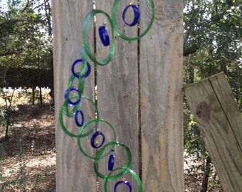 lt green blue GLASS WINDCHIMES from RECYCLED bottles, garden decor, wind chimes, mobiles, musical, windchimes