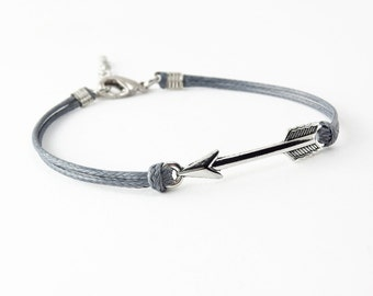 Silver Arrow Bracelet, Dark Gray Cord Bracelet, Friendship Bracelet
