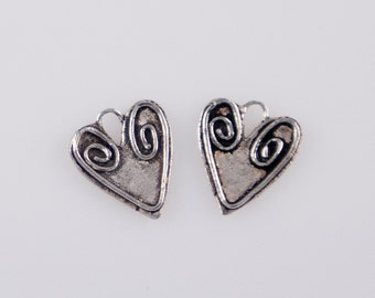 St2 - Oxidized Sterling Silver Swirl Heart Charms - 2 Pieces
