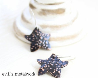 ON SALE Tiny Stars Dot Textured Black Drop Earrings Copper Hand Cut Oxidized Love Dangle Boho Ethnic Hippie by evismetalwork