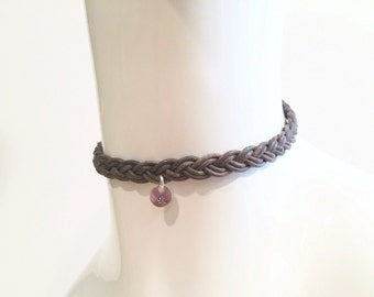 Leather Choker - Braided Choker - Brown Braided Choker - Custom Choker - Necklace - Teen - Womens - Gift - Trendy - Custom Initial or Charm