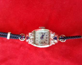 Beautiful Art Deco Rare Rensie Ladies 14k White Gold Watch Diamonds and Sapphires Serviced Shop Now for Birthdays Graduation Mother's Day