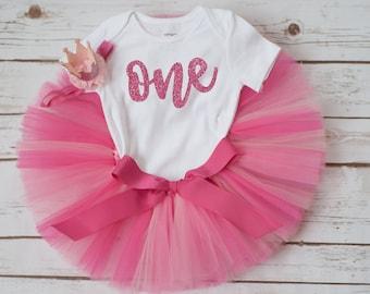 Pink first birthday tutu outfit  'Anita' pink birthday tutu pink glitter first birthday shirt and crown headband cake smash tutu set girl