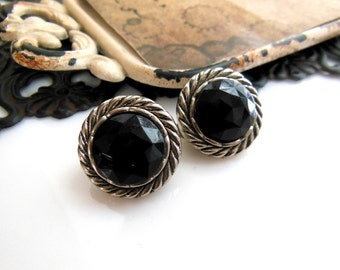 Vintage Lightweight Silver Rope Black Faceted Dome Clip On Earrings YY34
