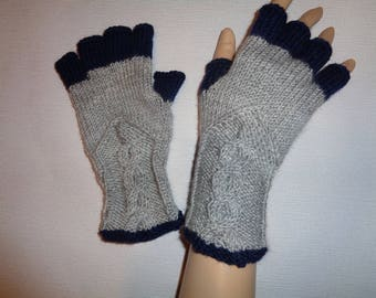 Hand-knitted light grey and navy blue color women fingerless gloves