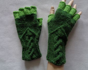 Hand-knitted green and light green color women fingerless gloves