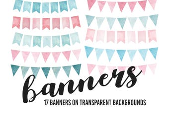 Watercolor Banners, Watercolor Bunting Clipart, Bunting Clipart, Pink and Blue banners, Pink and Blue Bunting, Pink and Blue Banners