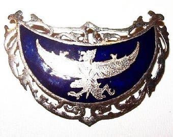 "Asian Dragon Brooch Signed Sterling Silver Blue Enamel Symbolic Thailand 1.5"" Vintage"