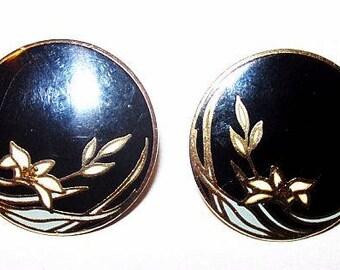 """Laurel Burch Black Gold Enamel Earrings Signed """"Wind Flower"""" Post Backs Pierced Ears Gold Metal  7/8"""" Vintage"""
