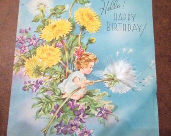 Vintage Birthday card, feather on front by Doehla Fine Arts
