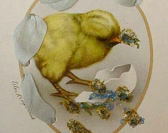 Beautiful Deco Era Easter Postcard with Ellen Clapsaddle Chick with Blue Silk Ribbon