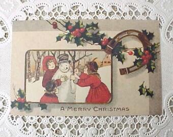 Charming Vintage Christmas Postcard-Children Making a Snowman