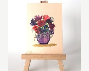 Art card | Exotic  flower Bouquet | ACEO | Original Miniature Painting | Collectible Art Card | Miniature Art | By Hazel Rayfield