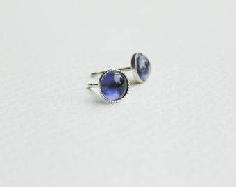 5mm round ink blue iolite gemstone sterling silver studs earrings