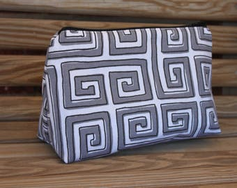 Grey and White Makeup Bag - Cosmetic Bag, Makeup Case, Zipper Makeup Bag
