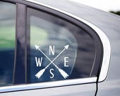 North South East West Compass Arrows  Car Window Vinyl Decal Cling
