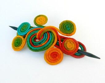Slide hair barrette, Curly hair fascinator, Long thick hair clip, Brooch shawl pin, Whimsical Bohemian fork, Hair stick clamps Green, orange