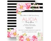 Gorgeous Bridal Shower Invitation - Floral - Black Stripe - Spade Wedding - Bubbly Invite - Celebrate - Custom - Printable - Printed (KATE)
