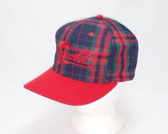 Vintage 1990s Trucker Ball Cap - Chevrolet on Plaid Pattern-  Hipster, Rockabilly, Chevy, Gearhead, Accessories, Dad Hats