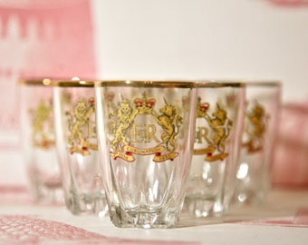 Set of six fabulous 1953 Royal Coronation shot glasses