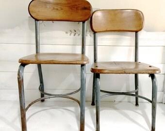 Vintage Child Chair Wood Metal Desk Chair