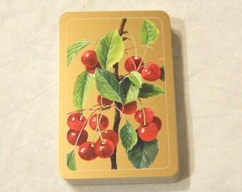 Cherry Fruit on Branch Gold Playing Cards Deck Piatnik Vienna Games Swap Trade Crafts Altered Art Scrapbooking
