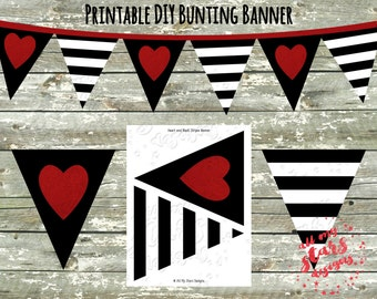 Black and White Stripes & Glitter Heart Design DIY Printable Pennant Banner | Valentine Decor | Triangle Bunting | Modern Party | Shower