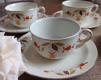 Set of 5 pretty Halls China Autumn Leaf Cups and Saucers