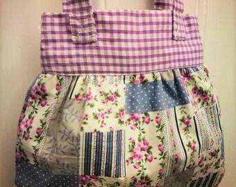 Pretty cotton bag, lilac, vintage, flowers, floral, gingham, country, boho, bohemian, girls, purple, ditsy