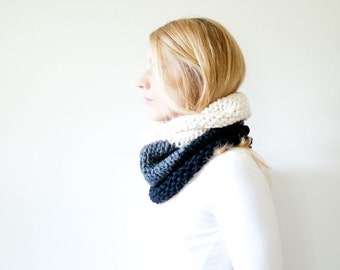 WINTER SALE the SOLOMON cowl - knit cowl scarf chunky scarf - color block - black / charcoal / fisherman