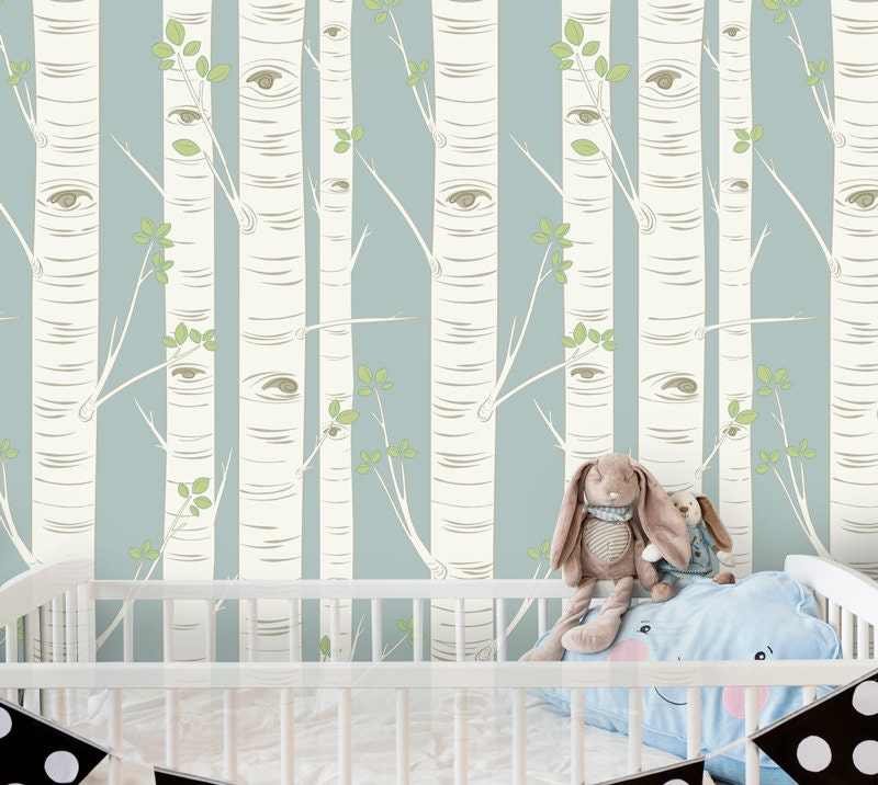 birch tree wallpaper in blue self adhesive wallpaper easy. Black Bedroom Furniture Sets. Home Design Ideas