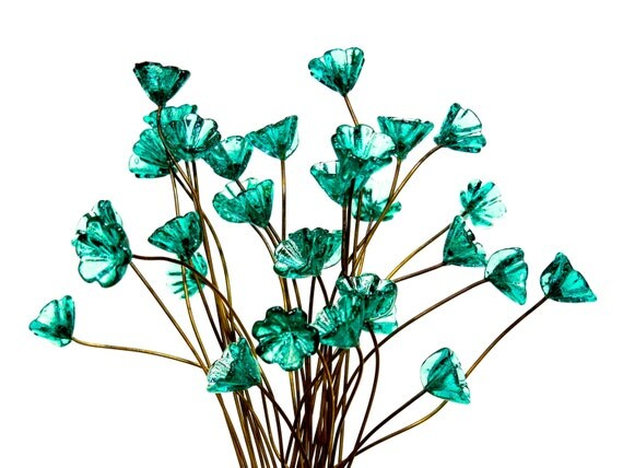 alimentation 14 clous fleur en verre turquoise perles de. Black Bedroom Furniture Sets. Home Design Ideas