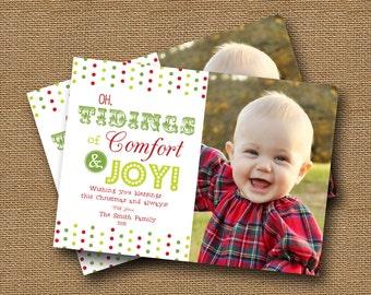 """Christmas Photo Card DIY PRINTABLE Christmas Typography """"Comfort and Joy"""" Printable Christmas Card"""