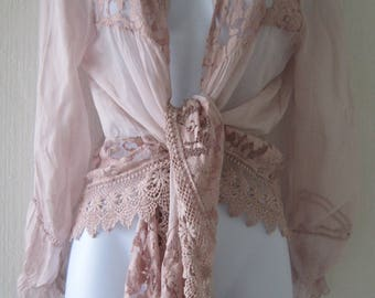 Sheer Pink Lacy Tie Top