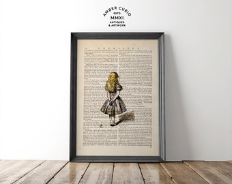 Alice in Wonderland Classic Literature Simple Alice Print on an Anituqe Up-Cycled Book Page Unframed Digital Artwork